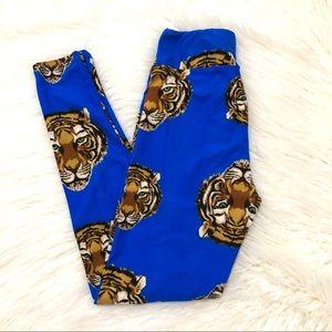 LULAROE OS tiger print blue legging